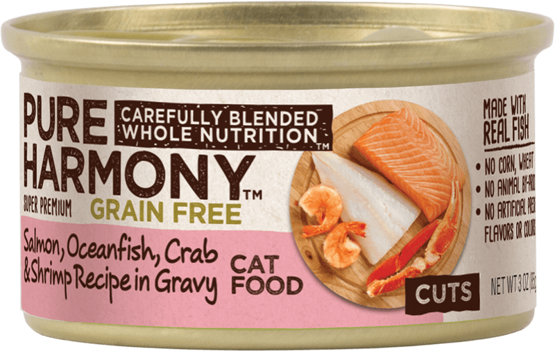 Pure Harmony Salmon, Oceanfish, Crab & Shrimp Recipe in Gravy Canned Cat Food